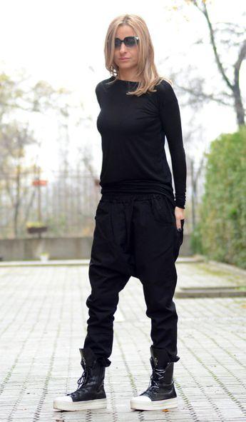 Harem Pants Women/ Winter Pants/ Plus Size Harem Pants/ Black Loose Pants/ Gypsy Pants/ Low Crotch Pants/ Gray Pants/ Oversized Pants