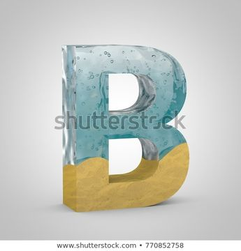 Water and sand letter B uppercase. 3D render font. Transparent water with air bubbles and yellow sand.