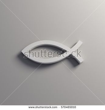 Christian Fish,icthus isolated on white background. 3D Render Illustration