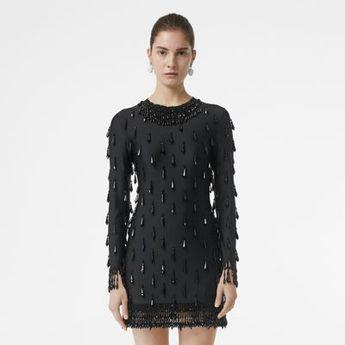 f3a09d778133c Long-sleeve Embellished Mini Dress in Black - Women