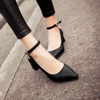 b28a9d33818 Fashion Women s Mary Janes Block Mid Heel Pointed Toe Ankle Strap Pumps OL  Shoes