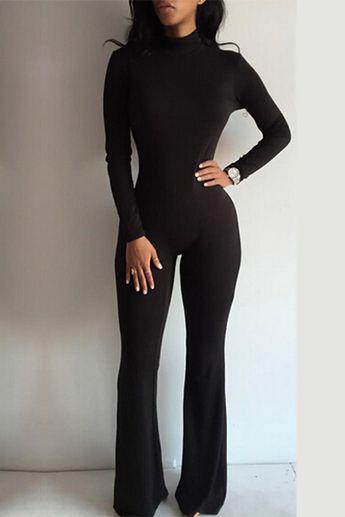 Fashion Turtleneck Long Sleeves Black Cotton Blend One-piece Jumpsuit