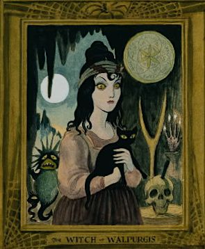 The Witch of Walupurgis, Haunted Mansion. Note her stang, the hand of glory, and the pentacle for conjuring infernal spirits, all from Émile Grillot de Givry's Le musée des sorciers, mages, et alchemistes.
