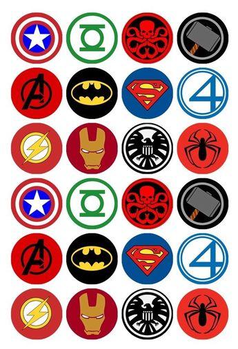Details about 24 x Superhero Logos Edible Cupcake Toppers Pre-Cut