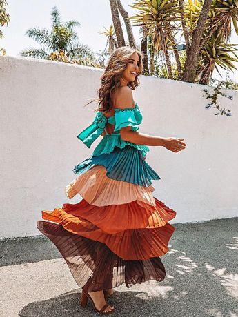 Sexy Two Pieces Rainbow Dress