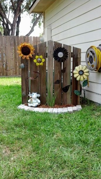 DIY Recycled gate used to hide the AC unit. | My DIY Garden Yard Art Projects | Pinterest | Yard, Garden and Backyard