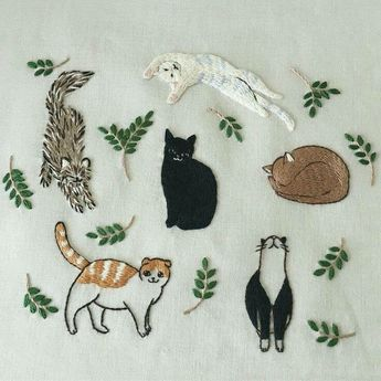 Bordado gatinhos