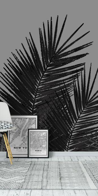 Black Palm Leaves Glitter 1 Wall mural