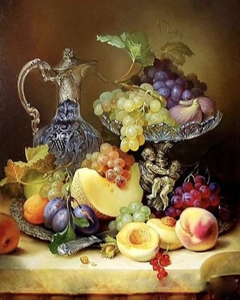 Paint by Number Kit - Fruit Tray with Victorian Vase, Grapes, Plums, Peaches, Canalope. DIY.  Fast S