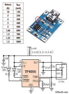 Li Po Li ion Battery Charge MCP73831 TP4056 Circuits tp4056 current resistor table prog resistor