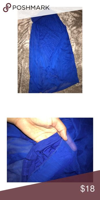 fa4617a64870 Maxi skirt Pretty blue color. Sheer shell with cotton lining. Fold over  waist band