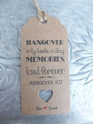 Hangover Kit Gift Tags Wedding Alcohol Favour Bottle Guest Label