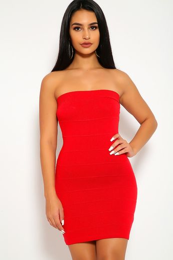4781651aee9 Sexy Red Strapless Bandage Bodycon Party Dress