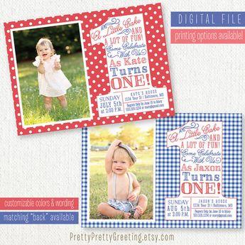 Patriotic First Birthday Invitation Photo Card