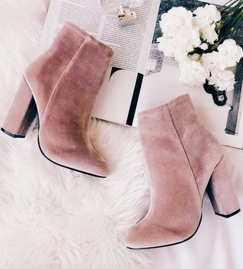 Cute blush suede boots.