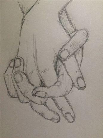 Prática esboço segurando as mãos 4 - pinkishcoconut #drawingsideasHands