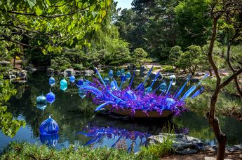 Chihuly Blue and Purple Glass Boat at the Denver Botanical Garden.