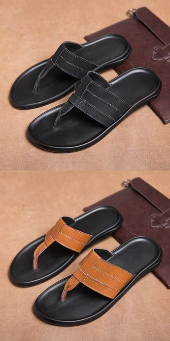US $23.2 Click to buy> Prelesty Summer Simple Comfy Men Flip Flops Shoes Split Cow Leather Casual