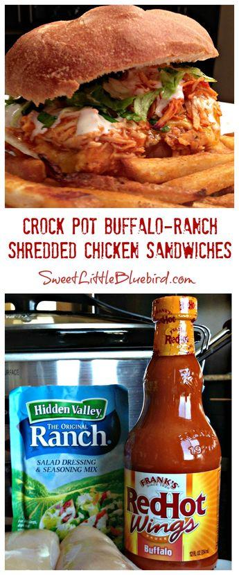 Crock Pot Buffalo-Ranch Shredded Chicken Sandwiches