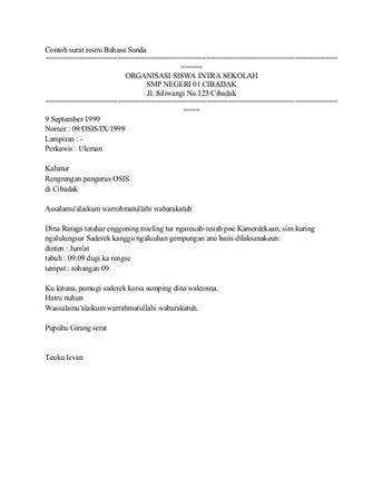 Contoh Surat Dinas Osis