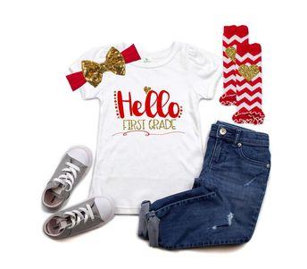Hello 1st Grade - 1st Grade Outfit - First Grade Outfit - 1st Grade Shirt for Girls - Hello First Grade - Back to School Shirt