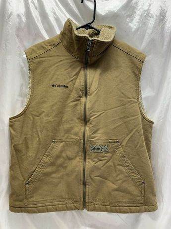 a43572fb2 COLUMBIA TIMBER GRIT SHERPA LINED CANVAS VEST TAN MEN S Size Large  fashion   clothing