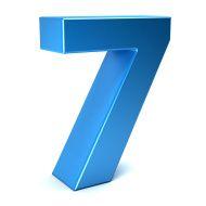 Number Seven Color Blue Icon. 3D Render Illustration stock photo