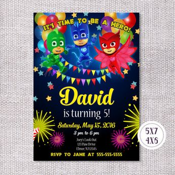 PJ Masks Birthday Invitation Printable Party Invite