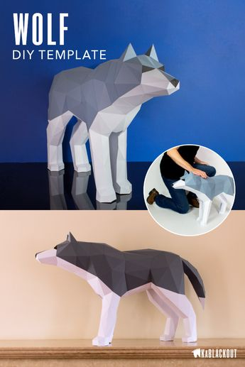 Wolf Papercraft Template, DIY Wolf Pattern, Low Poly Wolf Paper Craft, 3D Papercraft Wolf, PDF Printable Dire Wolf - Instant Download