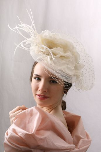 c1ad42ef8662d This Gorgeous Bridal veiled summer top hat is hand made. Iv