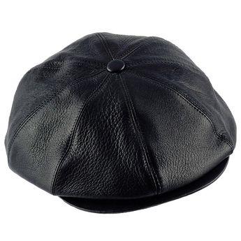 3b82210744f TONY - Genuine Leather Gatsby 8 Panels Flat Ivy Cap Irish Poor Boy  Applejack Baker Boy