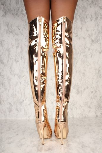 068e302cb2cd Sexy Mirror Rose Gold Peep Toe High Heels Thigh High Boots Patent