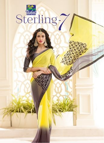 10f105b35e VISHAL PRINTS STERLING VOL 7 PRINTED FANCY FABRIC WITH EMBROIDERY WORK  SAREES COLLECTION AT WHOLESALE RATE