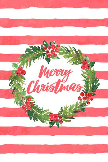 an adorable FREE stripes and floral Christmas phone background / wallpaper (Christmas Tumblr Lockscreen)