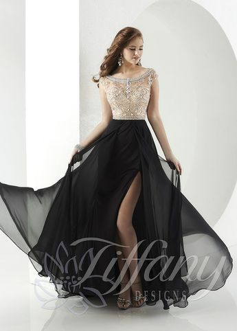 Tiffany Designs 16148 Jeweled Bodice A-Line Evening Gown