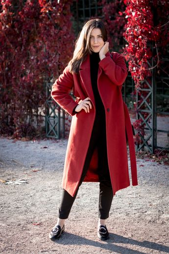 Roter Mango Mantel, Roter Wickelmantel, Mango Mantel, Wickelmantel, Roter Mantel, Roten Mantel kombinieren, Fall Outfits, Red Coat