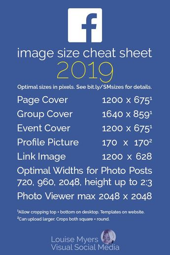 Social media marketers: Are you using the best Facebook image sizes? CLICK to blog for the latest FREE printable Social Media Sizes cheat sheet! Always-updated tips and sizes for Facebook, Pinterest, Instagram, Twitter, LinkedIn, YouTube. For small business owners, designers, and bloggers! #LouiseM #VisualMarketing #SmallBusinessTips #SMM #SocialMediaMarketing #FacebookMarketing #Bloggers #GraphicDesign