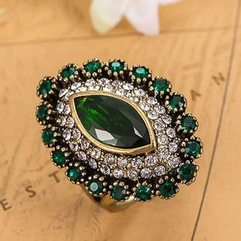 Very Good Quality Rhinestone Rings Women Vintage Joias Bridal Jewelry Noble Antique Gold Anel Ouro Fashion Turkish Rings Aneis Like and share!Visit us: www.jewelryabo.co... #shop #beauty #Woman's fashion #Products #homemade