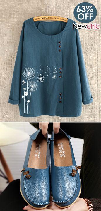 Women fashion shirts & shoes. #casualoutfits #floralshirts #flatshoes