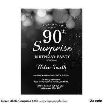 Silver Glitter Surprise 90th Birthday Invitation