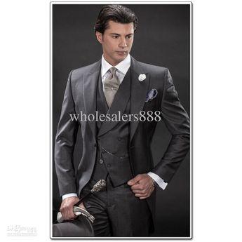 Custom Made Morning Style Charcoal Groom Tuxedos Best Man Peak Lapel Groomsmen Men Wedding Suits Bridegroom (Jacket Pants Tie Vest) H802