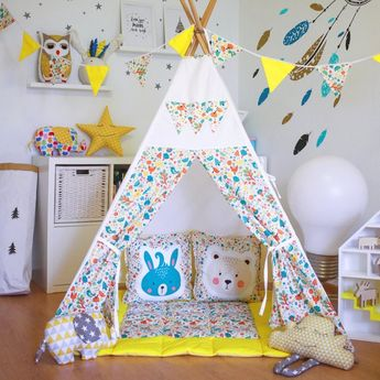 """FREE SHIPPING teepee """"Forest animals"""" with flags, kids teepee play tent wigwam, playtent, tipi, wigw"""