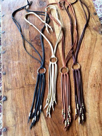 Ras de cou en cuir Y collier, collier cercle pompon en cuir, cuir frange