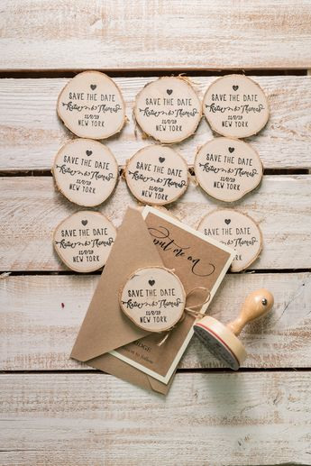Save the Date Craft Card with Wooden Slice Fridge Magnet perfect for Rustic Wedding 02/Mpi/std