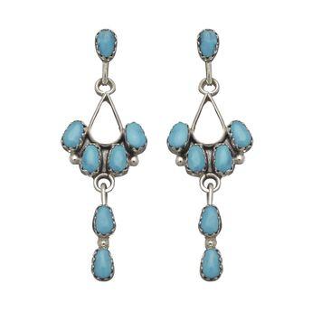 Boucles d'oreilles Navajo, turquoises Sleeping beauty sur argent. | Harpo Paris