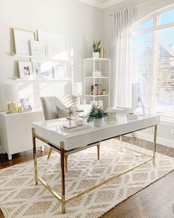 Chic up your office space with gold details and textured rugs a la @threetimesahome | Shop this pic instantly from your phone and discover…