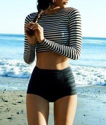 Cute b&w striped crop top w/ a high-waist swim bottom.. Cute!