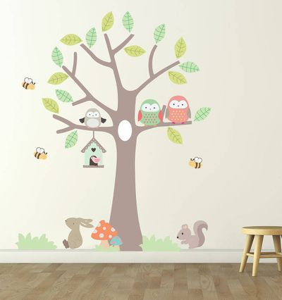 Beautiful Tree With Hanging Owl Wall Sticker