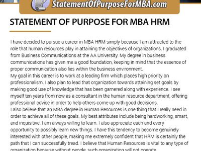 Sample sop for mba in human resource management
