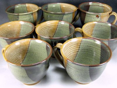 Ceramic serving bowl with textured rim by Potteryi Pottery bowl with iridescent sage and gray glazes .